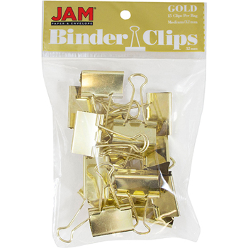JAM Paper® Binder Clips, Medium 32mm, Gold, 15/Pack