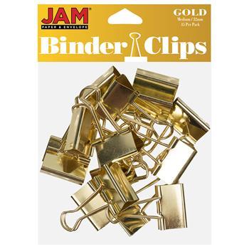 JAM Paper Binder Clips, Medium 32mm, Gold, 15/Pack