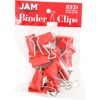 JAM Paper® Binder Clips, Medium 32mm, Red, 15/Pack