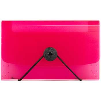 "JAM Paper Coupon Expanding File, 13 Pockets, 4 1/4"" x 6 3/4"", Pink"