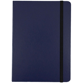"""Hardcover Notebook with Elastic Band, 5"""" x 7"""", Blue, 100 Lined Sheets"""