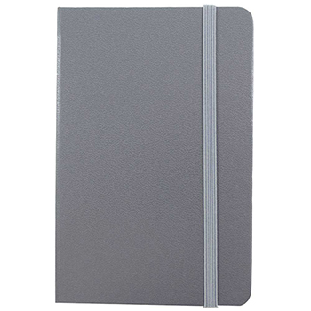 "JAM Paper® Hardcover Notebook with Elastic Band, 5 7/8"" x 8 1/2"", Gray, 100 Lined Sheets"