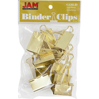 JAM Paper Binder Clips, Large 41mm, Gold, 12/Pack