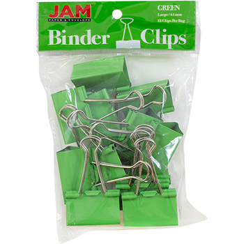 JAM Paper Binder Clips, Large 41mm, Green, 12/Pack