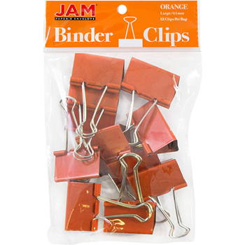 JAM Paper® Binder Clips, Large 41mm, Orange, 12/Pack