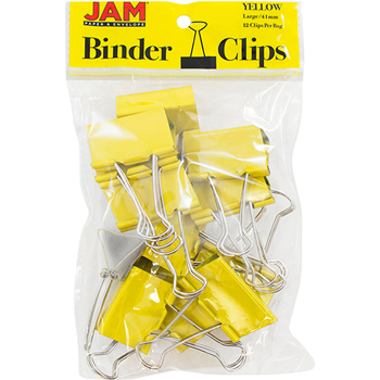 Binder Clips, Large 41mm, Yellow, 12/Pack