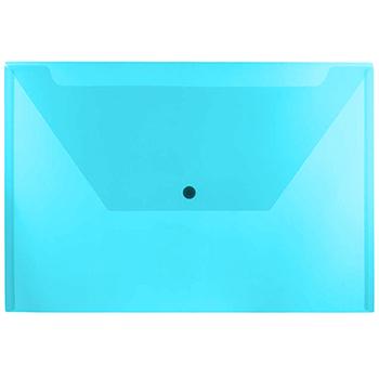 """JAM Paper® Plastic Envelopes with Snap Closure, Legal Booklet, 9 3/4"""" x 14 1/2"""", Blue, 12/PK"""