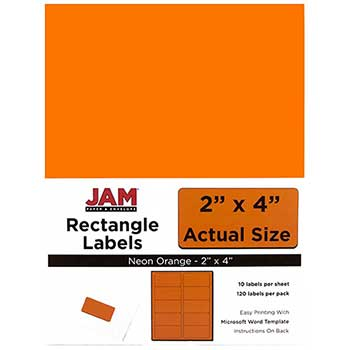 "JAM Paper Shipping Address Labels, Standard Mailing, 2"" x 4"", Neon Fluorescent Orange, 120 Labels"