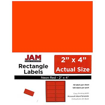 "JAM Paper® Shipping Address Labels, Standard Mailing, 2"" x 4"", Neon Fluorescent Red, 120 Labels"