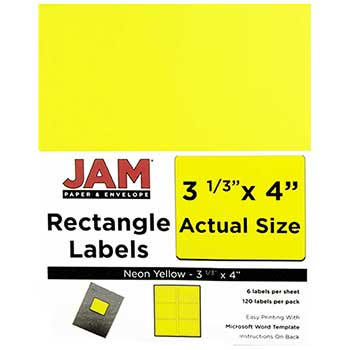 "JAM Paper® Shipping Address Labels, Large, 3 1/3"" x 4"", Neon Fluorescent Yellow, 120 Labels"