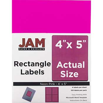 """Shipping Address Labels, Extra Large, 4"""" x 5"""", Neon Pink, 4 Labels per Page/120 Labels"""