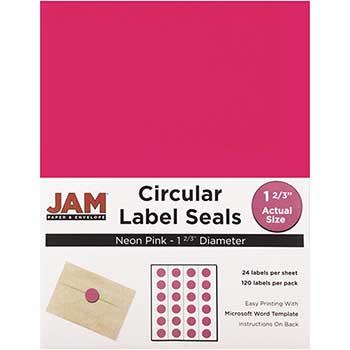 "JAM Paper Circle Label Sticker Seals, 1 2/3"" Diameter, Neon Pink, 120 Labels"