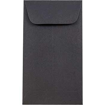 "JAM Paper #5.5 Coin Business Envelopes, 3 1/8"" x 5 1/2"", Smooth Black, 500/BX"