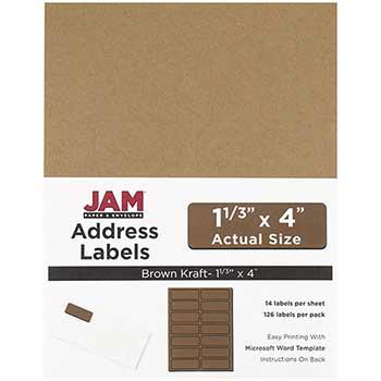 "Mailing Address Labels, Rectangular, 1 1/3"" x 4"", Brown Kraft, 126 Labels"