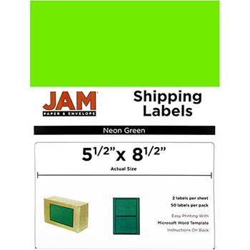 """Shipping Labels, Half Page, 5 1/2"""" x 8 1/2"""" , Neon Green, 50 Labels"""