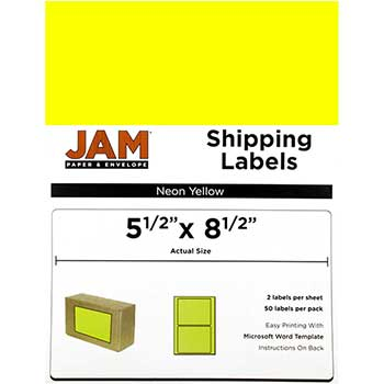 """Shipping Labels, Half Page, 5 1/2"""" x 8 1/2"""" , Neon Yellow, 50 Labels"""