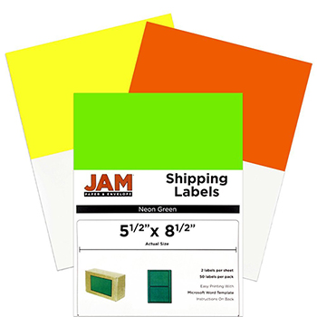 """JAM Paper Shipping Labels, Half Page, 5 1/2"""" x 8 1/2"""", Assorted Bright Neon Colors, 150/PK"""