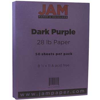 JAM Paper Matte Paper, 8.5 x 11, 28lb Dark Purple, 50/pack