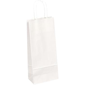 "Wine Shopping Bags, 5 1/2"" x 3 1/4"" x 13"", White Kraft, 250/PK"