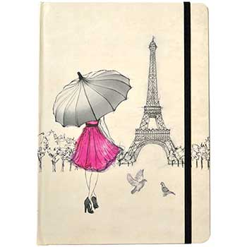 """JAM Paper® Hardcover Notebook with Elastic Band, 5 3/4"""" x 8 1/4"""", Eiffel Tower, 160 Lined Sheets"""