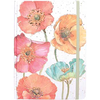 """Hardcover Notebook with Elastic Band, 5 3/4"""" x 8 1/4"""", Gilded Poppies, 160 Lined Sheets"""