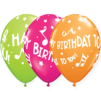 "JAM Paper® Party Balloons, 12"" Latex, Bright Birthday Assortment, 36/PK"