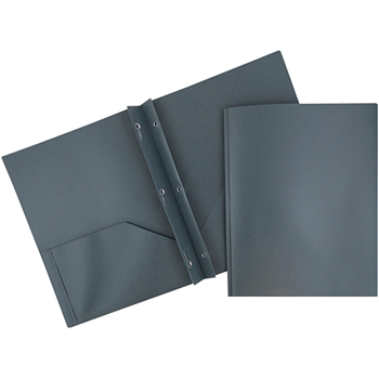 JAM Paper Plastic 2 Pocket School POP Presentation Folders with Prong Clasp Fasteners, Grey, 6/PK