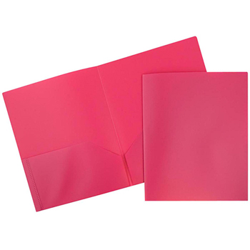 JAM Paper® Plastic 2 Pocket School POP Presentation Folders, Pink, 6/PK