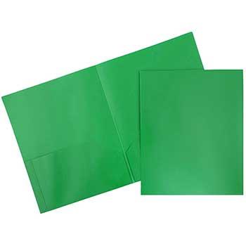 JAM Paper Plastic 2 Pocket School POP Folders, Green, 6/PK