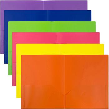 JAM Paper® Plastic 2 Pocket School POP Presentation Folders, Assorted Primary Colors, 6/PK