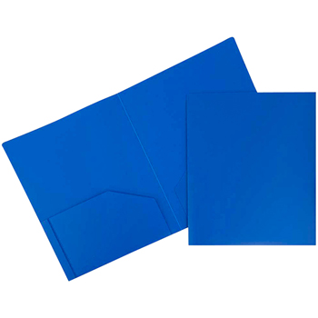 Plastic Heavy Duty 2 Pocket School Presentation Folders, Blue, 6/PK