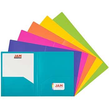 JAM Paper Heavy Duty Plastic 2 Pocket School Folder, Assorted Fashion Colors, 6/PK