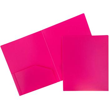 JAM Paper Plastic Heavy Duty 2 Pocket School Presentation Folders, Fuchsia Pink, 6/PK