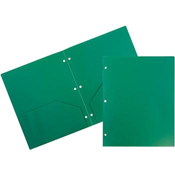 Plastic Heavy Duty 3 Hole Punch 2 Pocket School Presentation Folders, Green, 6/PK