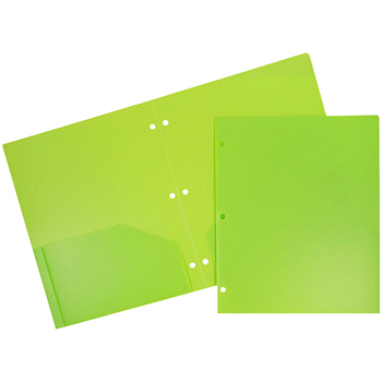 Plastic Heavy Duty 3 Hole Punch 2 Pocket School Presentation Folders, Lime Green, 6/PK