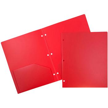 JAM Paper® Plastic Heavy Duty 3 Hole Punch 2 Pocket School Presentation Folders, Red, 6/PK