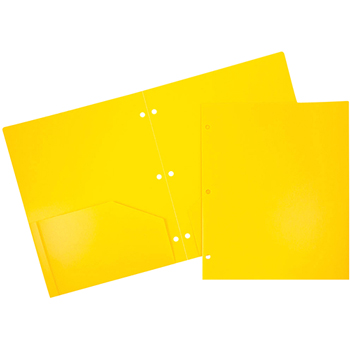 Plastic Heavy Duty 3 Hole Punch 2 Pocket School Presentation Folders, Yellow, 6/PK