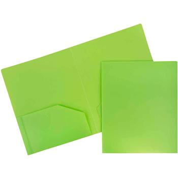 JAM Paper Plastic Heavy Duty 2 Pocket School Presentation Folders, Lime Green, 6/PK