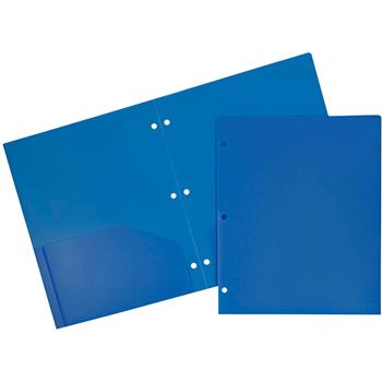 Plastic Heavy Duty 3 Hole Punch 2 Pocket School Presentation Folders, Blue, 6/PK