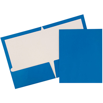 JAM Paper® Laminated Glossy 2 Pocket School Presentation Folders, Blue, 6/PK