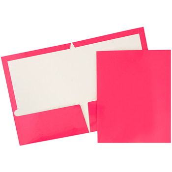 JAM Paper® Laminated Glossy 2 Pocket School Presentation Folders, Hot Pink, 6/PK