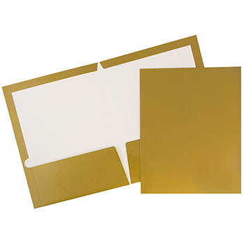 Laminated Two-Pocket Glossy Folders, Gold, 100/CT