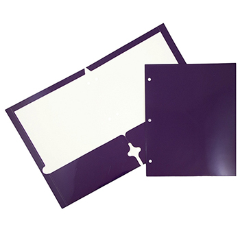JAM Paper Laminated Two-Pocket Glossy 3 Hole Punch Folders, Purple, 25/PK