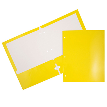JAM Paper® Laminated Two-Pocket Glossy 3 Hole Punch Folders, Yellow, 25/PK