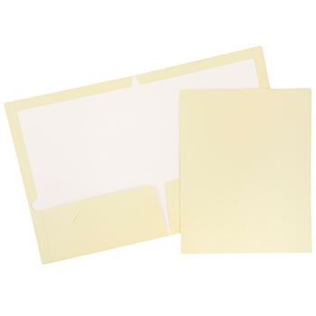 JAM Paper Laminated Two-Pocket Glossy Folders, Ivory, 50/PK