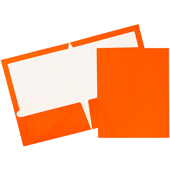 JAM Paper® Laminated Glossy 2 Pocket School Presentation Folders, Orange, 6/PK
