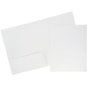 JAM Paper Laminated Two-Pocket Glossy Folders, White, 100/CT