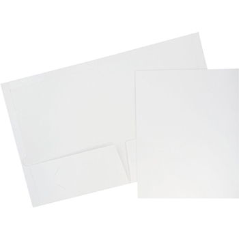 JAM Paper® Laminated Glossy 2 Pocket School Presentation Folders, White, 6/PK