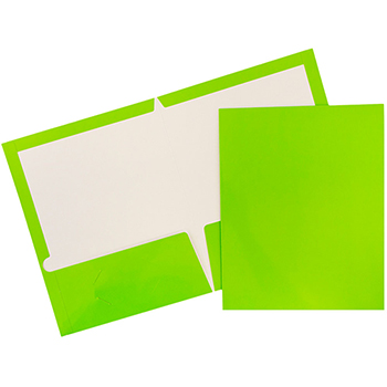 JAM Paper® Laminated Two-Pocket Glossy Folders, Lime Green, 100/CT