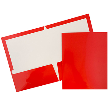 JAM Paper® Laminated Two-Pocket Glossy Folders, Red, 25/PK